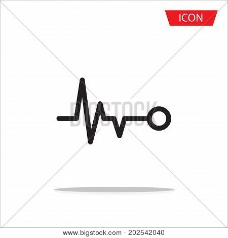 Heart beat monitor pulse line art icon on white background.