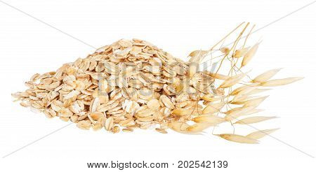 heap of oat flakes and ripe oat ears isolated on white background with clipping path. Uncooked oatmeal