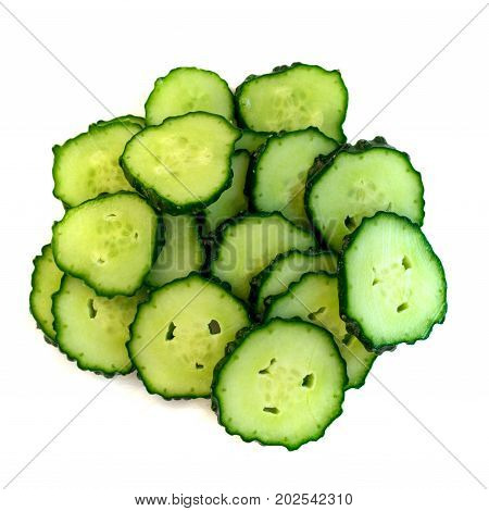 Heap Of Fresh Cucumber Slices Isolated