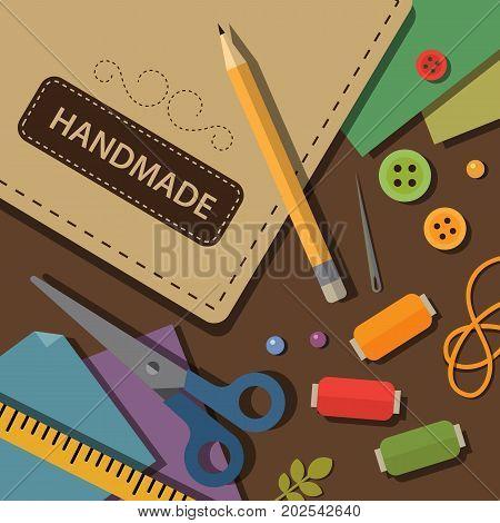 Handmade craft tools and materials flat illustration