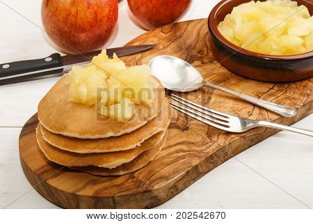 buttermilk pancake with home made apple compote