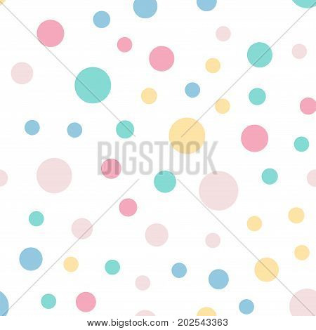 Colorful Polka Dots Seamless Pattern On White 9 Background. Marvelous Classic Colorful Polka Dots Te