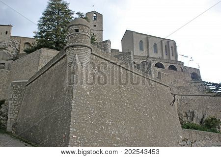 exterior walls of Sisteron citadel in France