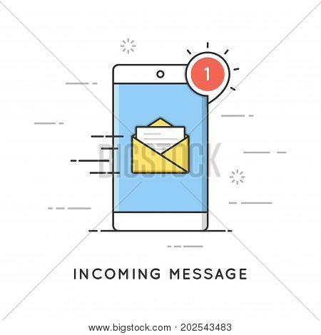 Incoming email notification, new message. Flat line art style concept. Vector banner, icon, illustration. Editable stroke.