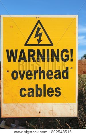 Danger warning sign for overhead electric cables