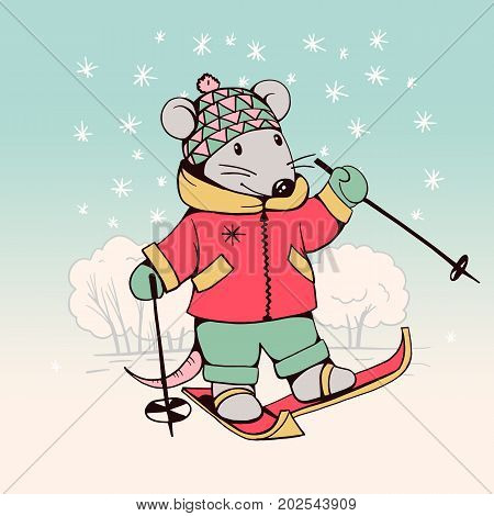 Hand-drawn illustration of funny cartoon Mouse with skis. illustration. Vector.