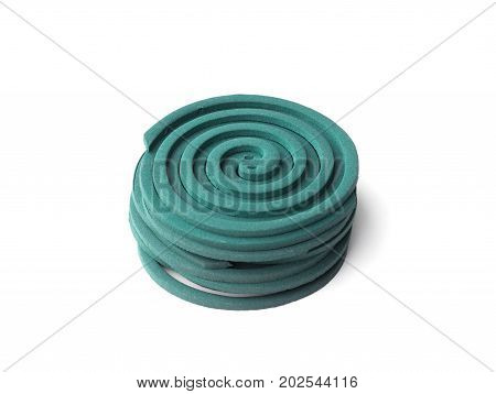 mosquito repellent coils are stacked on white background