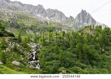 River Over Lake Tremorgio On Canton Ticino