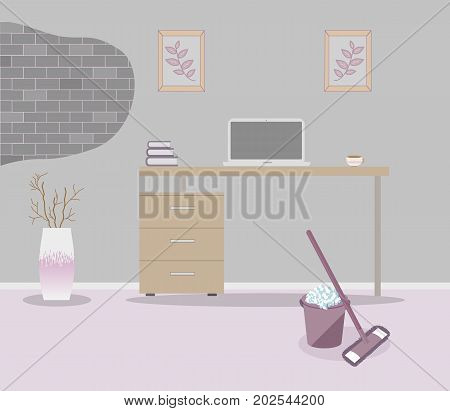 Office in loft style on a gray background. Vector illustration Table with drawers,decorative branches in a beautiful vase floor, cute paintings.Cup with coffee,laptop. MOP and bucket,soapy foam