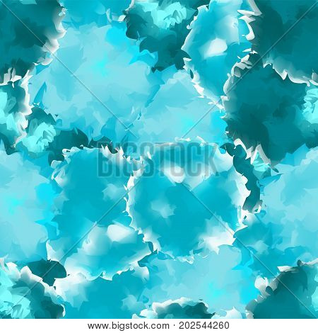 Teal Seamless Watercolor Texture Background. Interesting Abstract Teal Seamless Watercolor Texture P