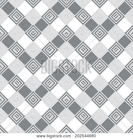 Plaid seamless pattern. Classical tablecloth texture in the form of zigzag. Checkered fabric background. Regularly repeating geometric tiles with rhombuses corner strips squares. Vector.