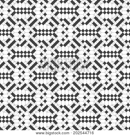 Seamless pattern. Stylish repeating geometric texture. Modern thin linear grid in Memphis style. Regularly repeating original ornament with rhombuses strips. Vector design.