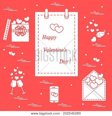Cute Vector Illustration: Calendar With Valentine's Day, Gifts, Postal Envelope, Two Stemware, Smart