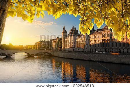 Parisian Court of Cassation on Seine in autumn, France