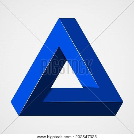 Blue geometric paradox vector. Penrose trigon shape