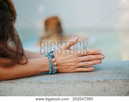 Woman hands together symbolizing prayer and gratitude. Mudra. Yoga concept.