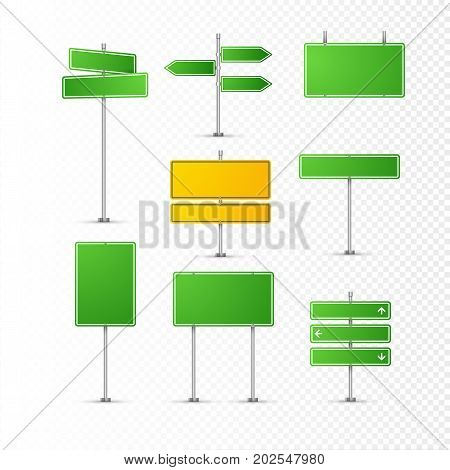Road sign isolated on transparent. Highway traffic green signs. Transportation board frame.