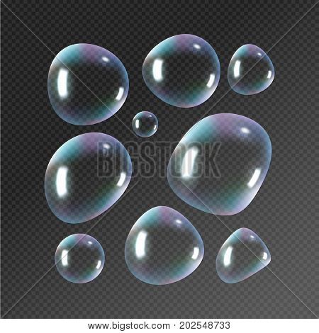 Realistic soap bubbles. Rainbow reflection bubbles isolated vector on transparent illustration.