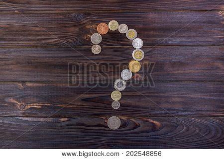 Money question. Element of finance design on dark background