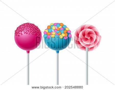 Lollipops candy dessert food background. Vector lollipop object isolated.