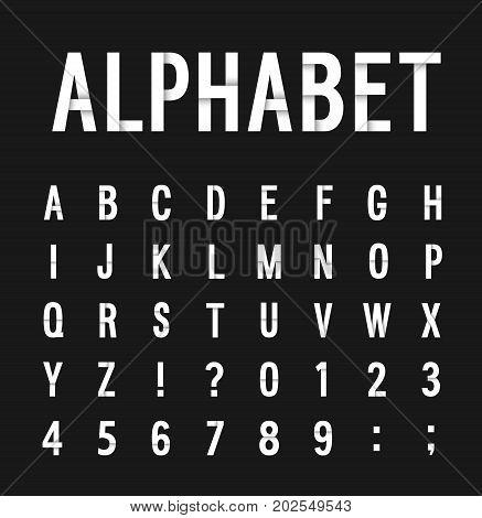 Creative paper flat retro alphabet. Vector illustration.