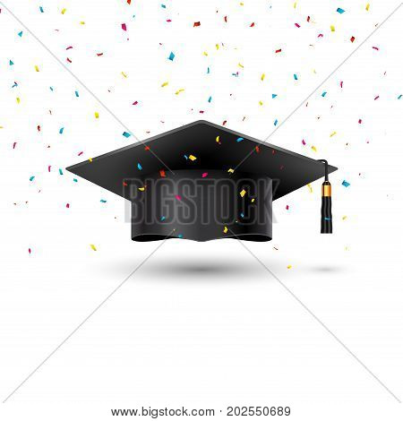 Education graduation university cup on white background. Success academic student hat for ceremony confetti school achievement.