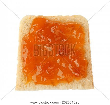 Slice of bread with apricot jam, isolated on white