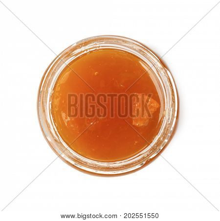 Apricot jam in jar, isolated on white