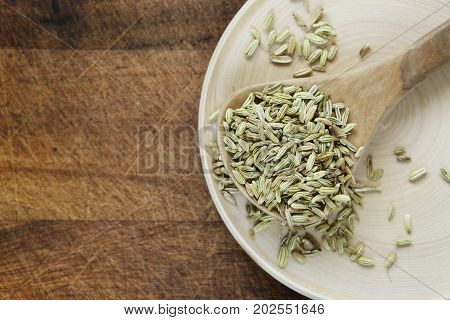 Spices fennel in a wooden spoon on a table