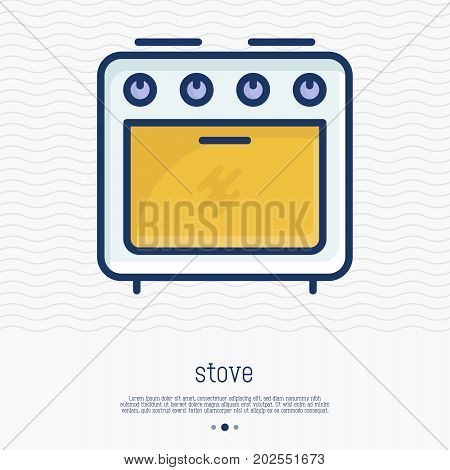Stove thin line icon front view. Simple vector illustration of home appliance.
