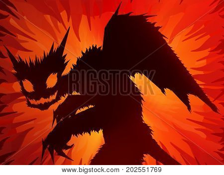 Inferno devil monster Halloween cartoon color light 3d illustration horizontal