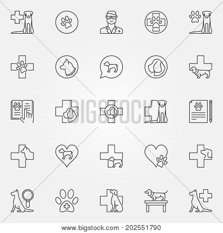 Dog veterinary icons set. Vector veterinary clinic and dog hospital concept signs or design elements in thin line style