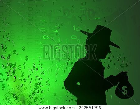 Virtual digits abstract 3d illustration shadow figure with cash bag horizontal