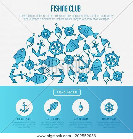 Fishing club concept in half circle with fish, bobber and anchor. Marine background with thin line icons. Template for design banners, postcard, invitation.