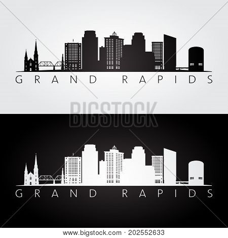 Grand Rapids USA skyline and landmarks silhouette black and white design vector illustration.