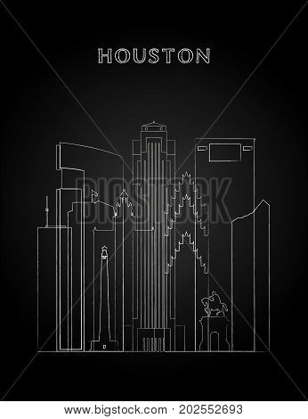 Houston skyline with chalk drawing on a black chalkboard. Vector illustration.