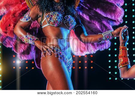 Beautiful bright colorful carnival costume illuminated stage background. Samba dancer hips carnival costume bikini feathers rhinestones close up