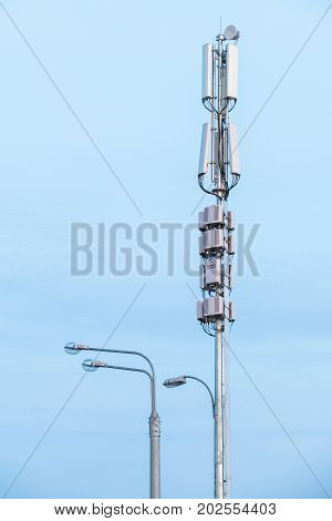 telecommunication equipment on a sky background. Close-up.