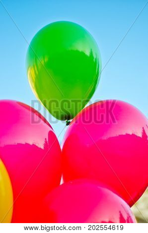 Colored Balloons In The Blue Sky