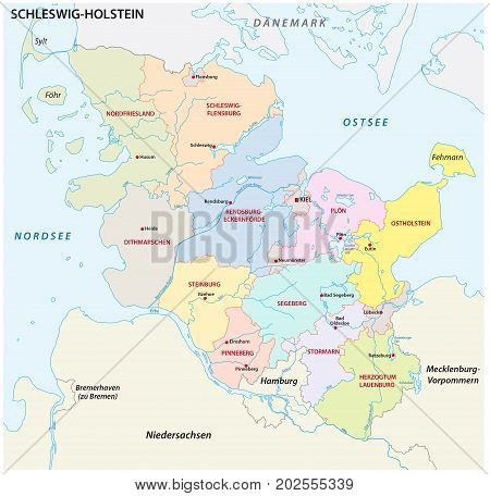 Schleswig-Holstein administrative and political map in german language