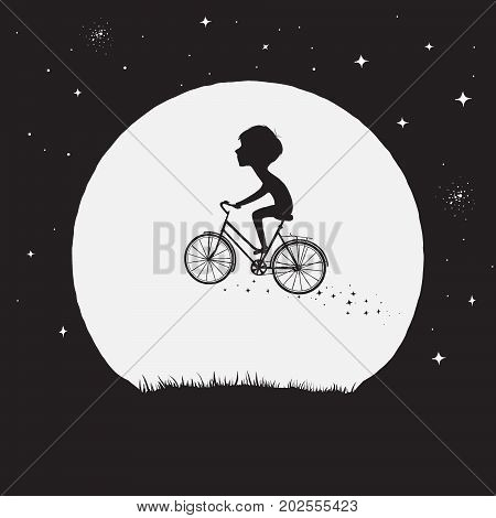Little boy flying on bicycle at the Moon background.Magic vector illustration.Magical flight