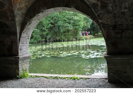 Villa Sorra Italy - August 10 2017: Tourists in park of Villa Sorra. Castelfranco Emilia Modena Italy