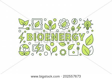 Bio energy vector illustration. Minimal bioenergy or green eco energy banner on white background