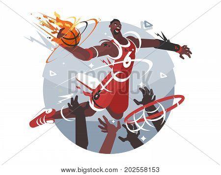 Basketball player with ball makes slam dunk. Vector flat illustration