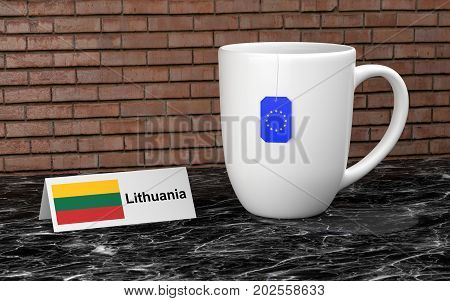 Big mug and label with EU country flag. 3D rendering.