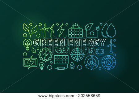 Green Energy vector banner - colorful illustration made with thin line power icons