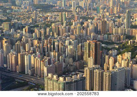a Kowloon side Hong Kong Skyline at 2015