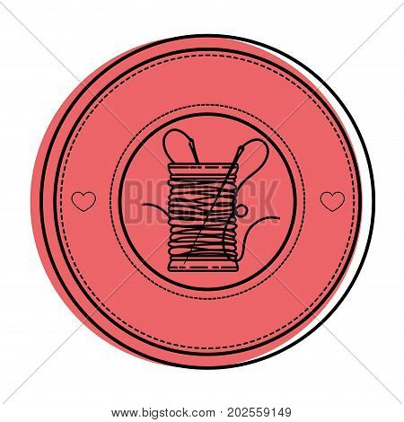 seal stamp with thread spool icon over white background vector illustration