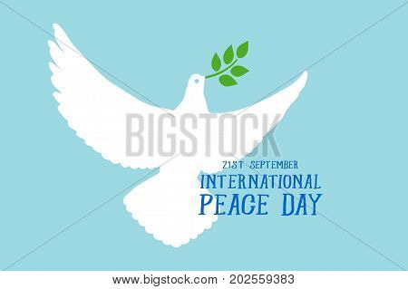 International Day of Peace. Beautiful card poster with white dove, green branch text word. Hand drawn design elements. Handwritten modern brush lettering blue background isolated vector