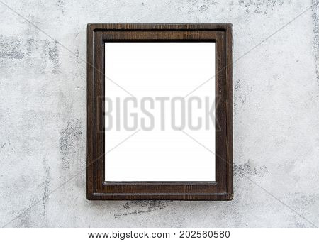 Wooden frame with space for design photo or text on the wall